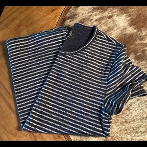 J.Crew heather blue with silver stripes tee